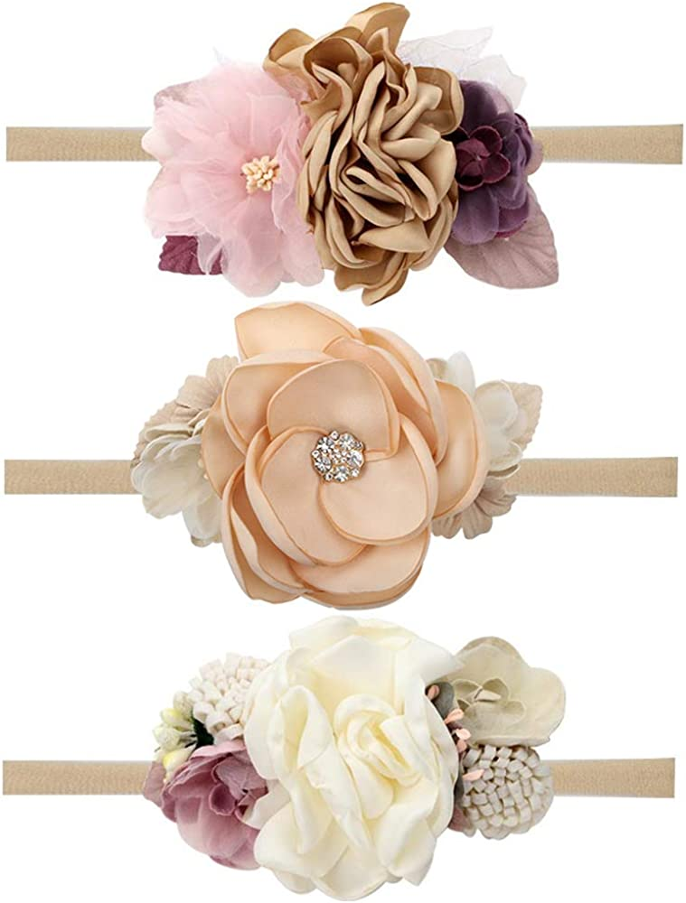 CN Baby Many popular brands Max 60% OFF Girls Floral Headbands Nylon Flowers Hair Bow Crown Elas