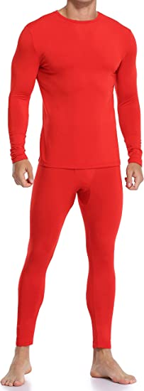 Coreal Mens Underwear Soft Thermal Wear for Men, Crew Neck Long Johns Base Layer with Fleece Lined Top & Bottom Set