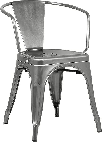 聚和树皮餐厅扶手椅抛光青铜