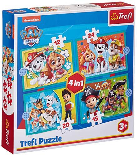 Trefl TR34346 - Puzle de la Patrulla Canina, de 12 a 24 Piezas, 4 Rompecabezas, para niños a Partir de 3 años