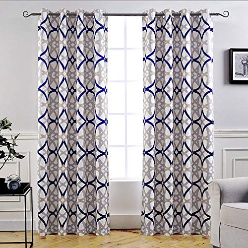 DriftAway Alexander Thermal Blackout Grommet Unlined Window Curtains Spiral Geo Trellis Pattern Set of 2 Panels Each Size 52 Inch by 84 Inch Navy and Gray