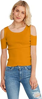 Women's Casual Cutout Cold Shoulder Top Stretch Fit Short Sleeve Fashion Tee