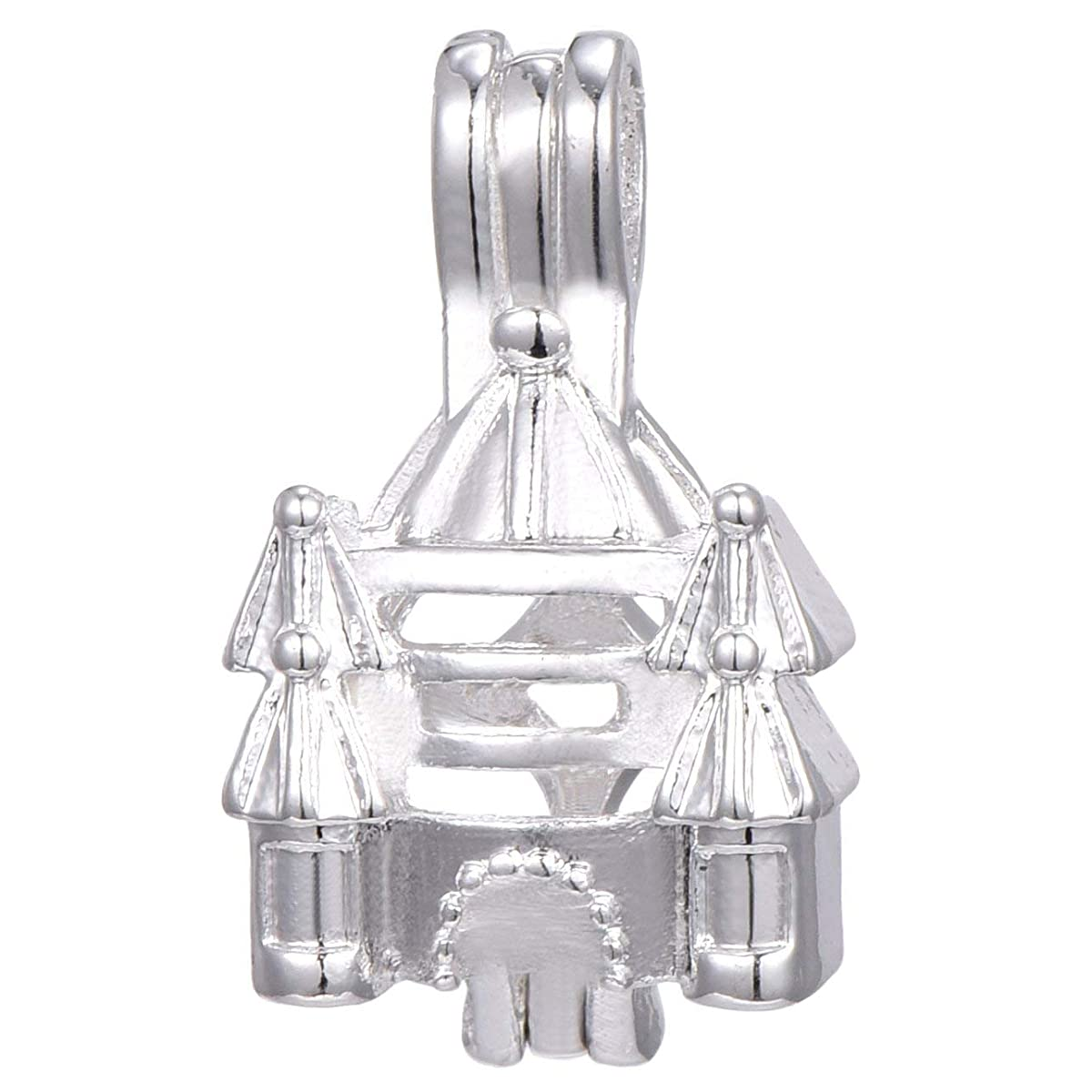 10pcs Castle Silver Plate Bead Cage Perfume Essential Oils Diffusing Locket Pendant Charms (B036)