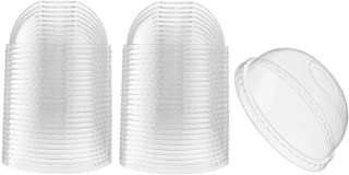 [50 Count] Crystal Clear PET Plastic Dome lids Fits 12, 16, 20, & 24 oz Cups for Iced Coffee, Milkshake, Slurpee, Ice crea...