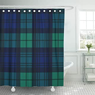 Emvency Shower Curtain Black Watch Tartan Pattern in Navy Blue Green Shower Curtains Sets with Hooks 72 x 72 Inches Waterproof Polyester Fabric