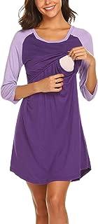 Siswong Chemise de Nuit Femme Enceinte Pyjama Maternit/é Grossesse sans Manche Soins de maternit/é Noeud Papillon Robe de Chambre