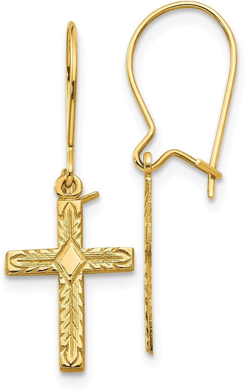 Beautiful Yellow gold 14K Yellowgold 14k Polished & Satin Cross Earrings