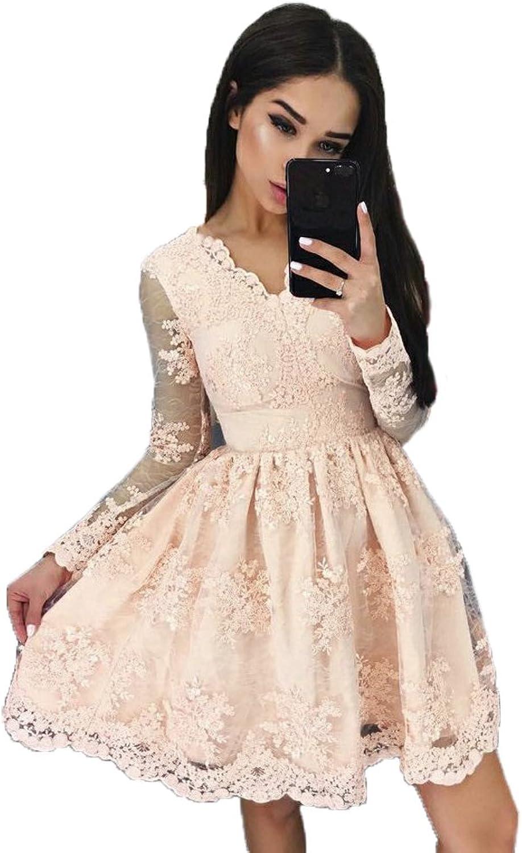 Ellenhouse ALine Applique VNeck Long Sleeves Short Lace Prom Homecoming Dresses
