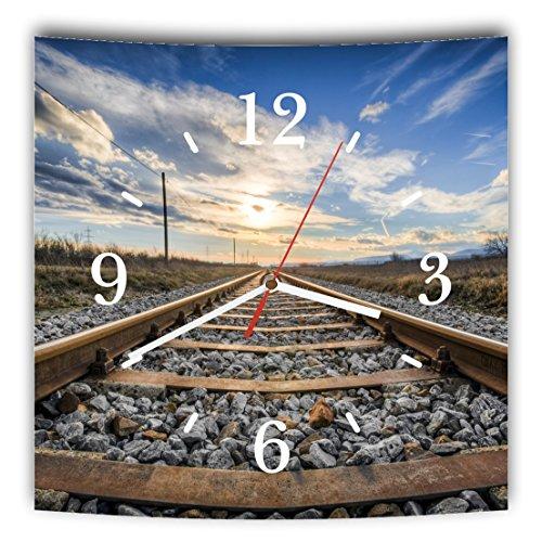 LAUTLOSE Designer Wanduhr mit Spruch Eisenbahn Bahnschienen Blau Braun Grün grau weiß modern Dekoschild Abstrakt Bild 29,5 x 28cm
