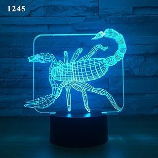 Colorido control remoto negro táctil Funciones creativas Lámpara de luz de la noche de 3d Decoración