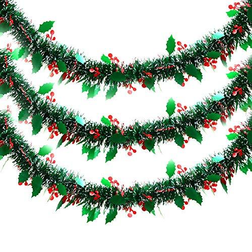 YJYDD 4/6/8M Green Holly Leaf & Berry Tinsel Christmas Tree Decorations Xmas Garland (Size : 6M)