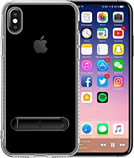 Apple iPhone X Totu Design Kick Stand TPU Back Case Cover - Clear & Black