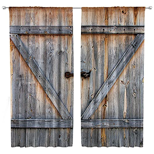 Riyidecor Rustic Barn Door Curtains Rod Pocket Wooden Plank Old Wood Farmhouse Countryside Rural Life Vintage Retro Living Room Bedroom Window Drapes Treatment Fabric (2 Panels 42 x 63 Inch)