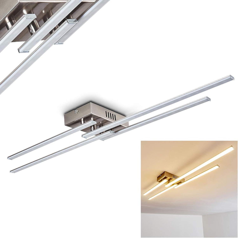 LED Deckenleuchte Casale, Deckenlampe in Chrom, 4-flammig, mit 4 lnglichen Lichtleisten, 17 Watt, 1360 Lumen, Lichtfarbe 3000 Kelvin (warmwei)