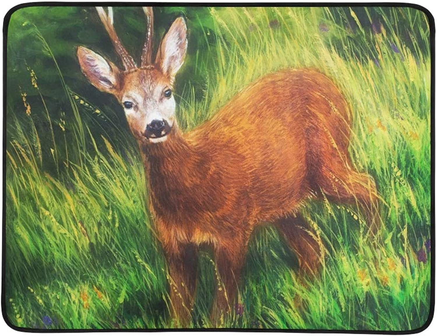 Painting Young Deer Wild Landscape High Portable and Foldable Blanket Mat 60x78 Inch Handy Mat for Camping Picnic Beach Indoor Outdoor Travel