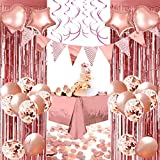 YINVA Rose Gold Party Decorations 67Pcs Rose Gold Birthday Party Decoration,Foil Balloons Confetti Balloons,Rose Gold Foil Curtains Plastic Tablecloth,10g Table Confetti for Girl Women Party Supplies
