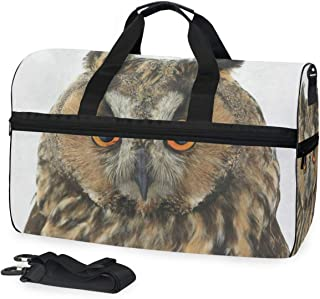Gym Bag Portrait Owl On White Duffle Bag Large Sport Casual Fashion Bag for Men Women