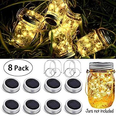 8 Pack Solar Mason Jar Lid String Lights,Warm White Waterproof String Fairy Star Firefly Lights with 8 Hangers Included (No Jars),for Regular Mason Jar Patio Garden Wedding Lantern Table Decor