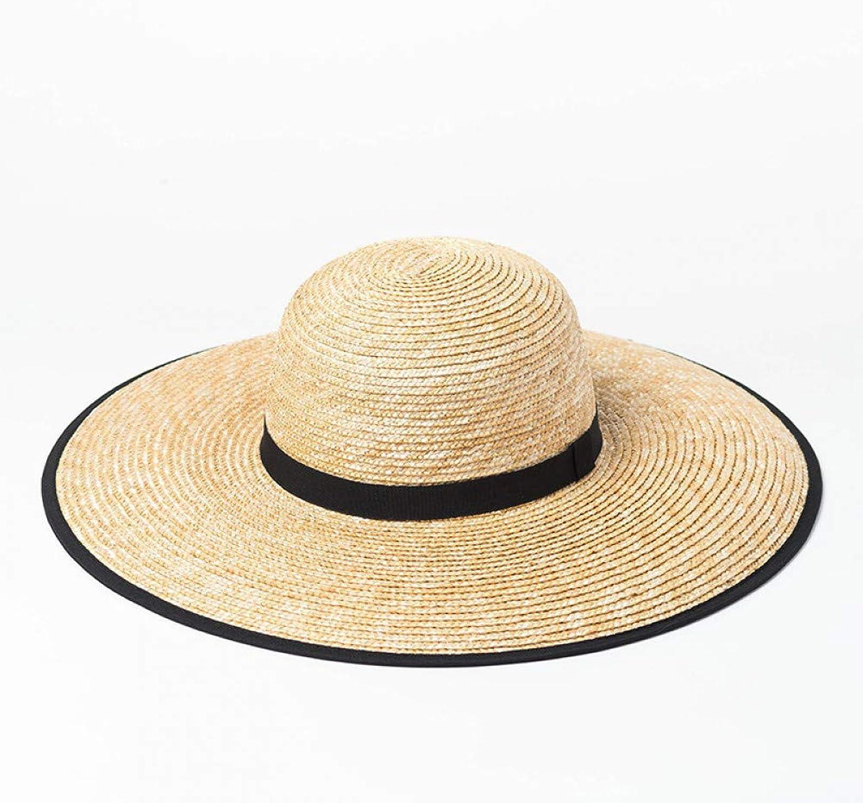 TYMYJF Spring and Summer Dome Edging Big Buckwheat Stalk Straw Hatoutdoor Travel Sunscreensunshade Beach Big Straw Hat