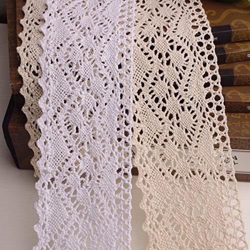 Yulakes 3 Yard 8cm Baumwolle spitzenband Vintage Häkelband Spitze Borte Häkelspitze Häkel-Borte Spitzenband für Nähen Handwerk Hochzeit Deko Scrapbooking Geschenkbox (beige)