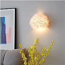 Wandlamp met natuurlijke veren voor slaapkamer, tricolor dimmen meisjes prinses woonkamer slaapkamer licht wandbevestiging