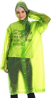 フード付き レインウ 屋外肥厚水玉大人レインコート旅行軽量女性ロングポンチョファッションワンピースレインコート 防水レインポンチョ (色 : 緑)