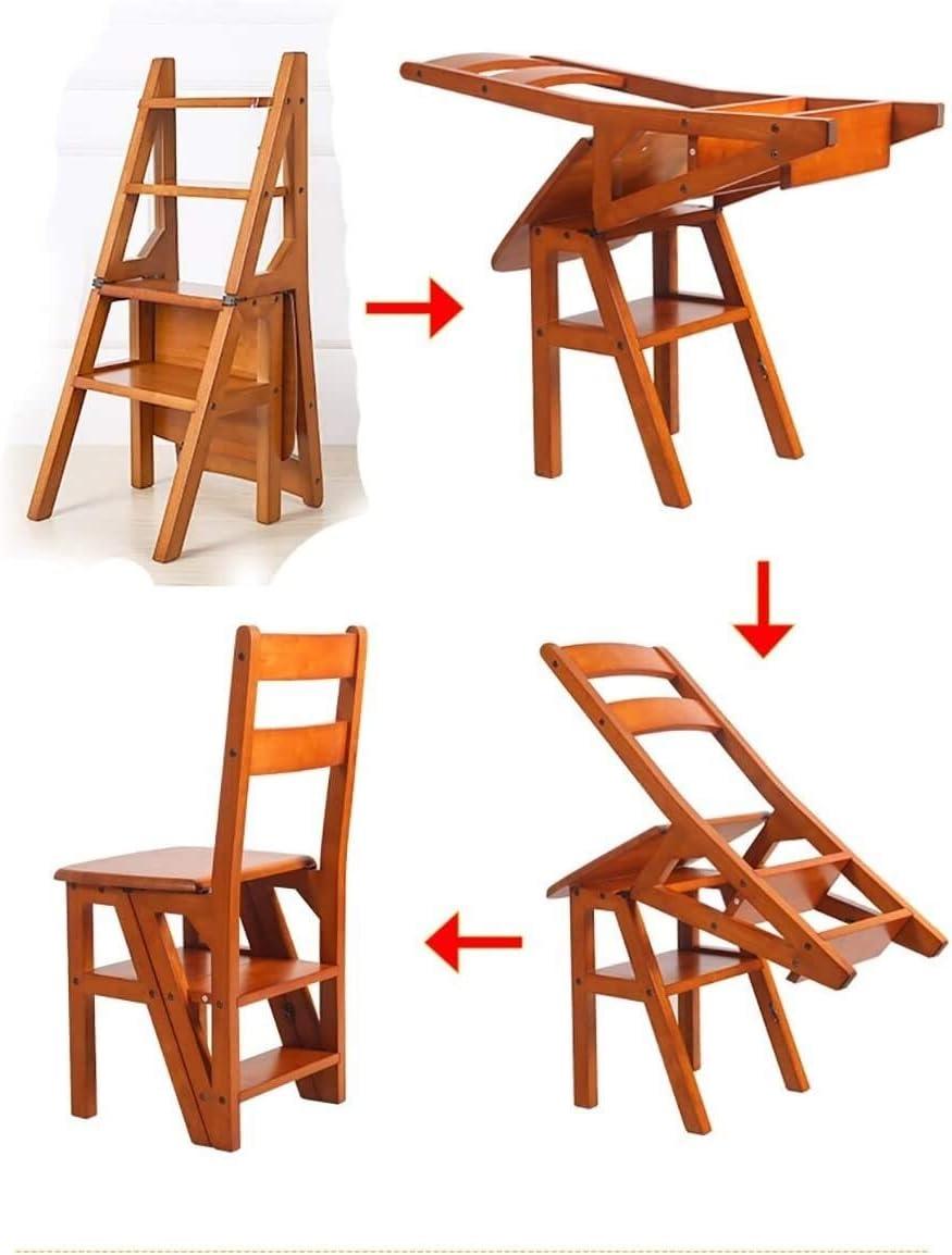 Marche Pied Bois Pliant Marchepied Tabouret échelle intérieure Cadre en Bois Massif Multifonction Fold Chaise Escalier Tabourets de Salle de Bain (Color : C) A