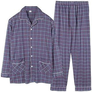 GJ La adición de Fertilizantes for Aumentar Pijamas, otoño e Invierno de la Solapa Cardigan Hombres de Manga Larga de algodón Pijamas, Traje 5XL XL individuo Gordo Home Service