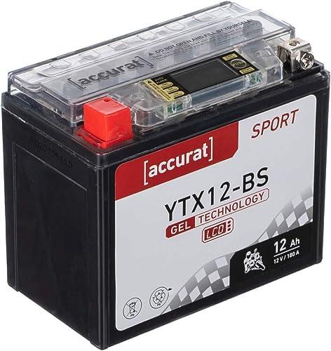 Accurat Batterie de moto YTX12-BS 12Ah 180A 12V Technologie gel + Écran LCD Batterie de démarrage Performante Robuste...