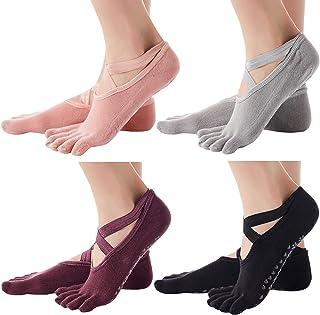 Ultrafun 4/6Pack Yoga Socks for Women Non Slip Skid Cotton Cushion Pilates Ballet Barre Socks with Grip