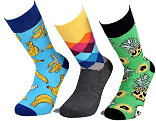 Devin's Happy Color Crew Socks Men's Organic Cotton for Fashion Designer Different Color Shoes 3 pair