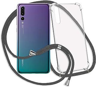 mtb more energy® Collar Smartphone para Huawei P20 Pro (6.1'') - Gris Oscuro - Funda Protectora ponible - Carcasa Anti Shock con Cuerda