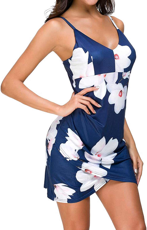 Fantasy Closet Women's V Neck Sleeveless Spaghetti Floral Casual Bodycon Party Dress