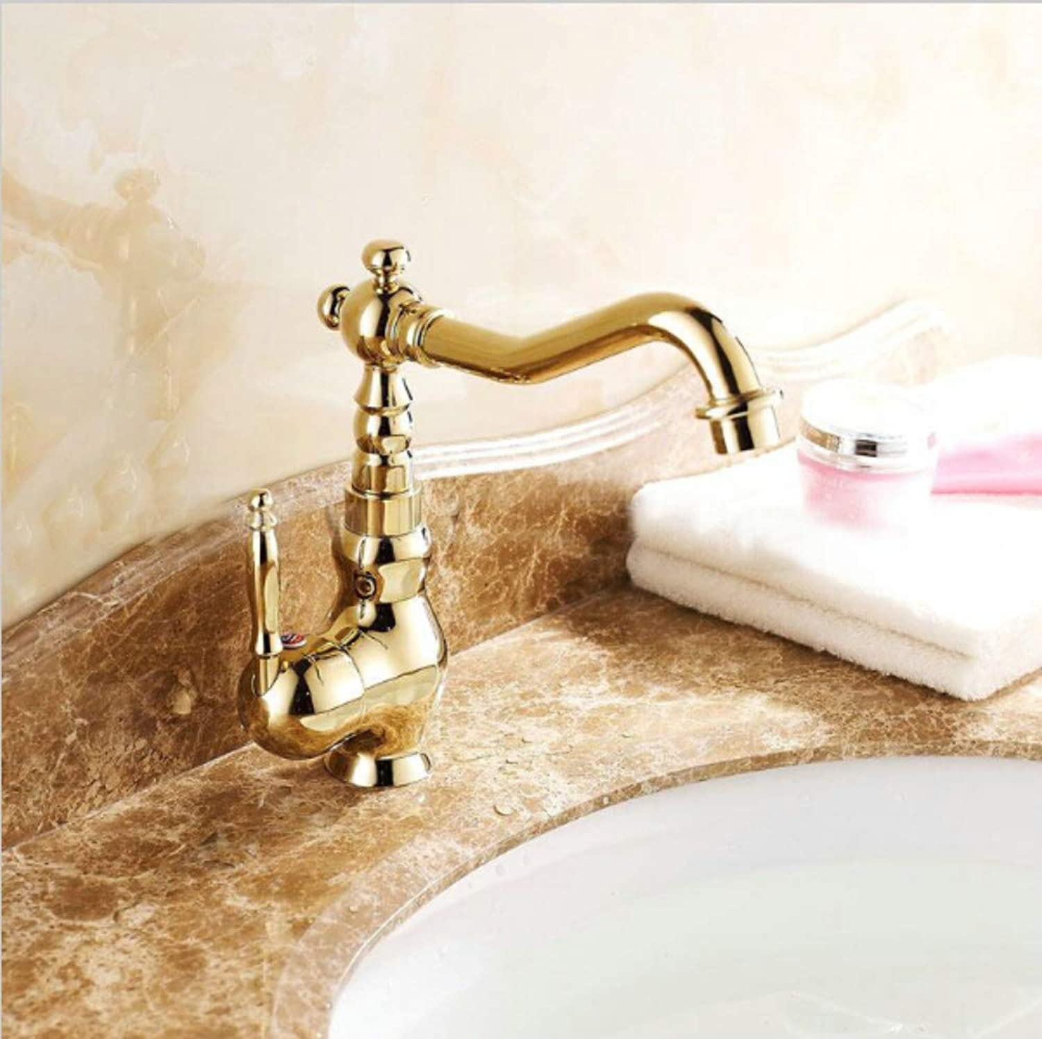 Bathroom Sink Tap gold color Innovative Fashion Style Home Bath Basin Faucet Cold and Hot Water Taps Bathroom Mixer Faucet