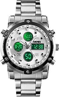ساعة يد SKMEI للرجال، ساعة رقمية تناظرية مقاومة للماء مع شاشة LED متعددة الزمن، ساعات عمل من الفولاذ المقاوم للصدأ للرجال
