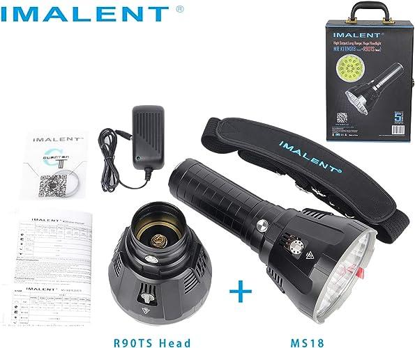 Ensemble de lampe de poche IMALENT MS18LK, comprenant une tête et un bloc-batterie MS18 et R90TS, adapté au camping extérieur