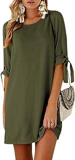 YOINS - Vestido de mujer corto, ideal para verano, mangas estilo túnica con detalle de lazo, cuello redondo