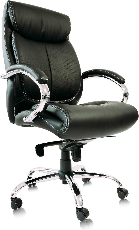 Kijng Chefsessel Kings - Schwarz Chrome Kunstleder Ergonomischer Bürostuhl Schreibtischstuhl Drehstuhl Sessel Stuhl