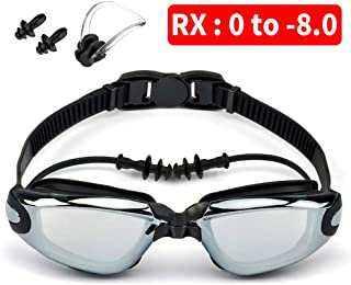 Moikin Swim Goggles, Shortsighted RX Prescription Optical Corrective Myopic Swimming Goggles Leakproof Anti-Fog UV Protection Shortsighted Nearsighted Myopia for Men and Women
