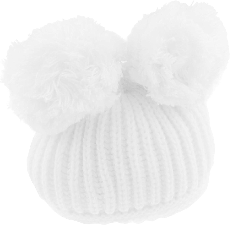 c/álido de invierno Sombrero de beb/é s/úper suave para ni/ñas y ni/ños grueso acanalado con pomp/ón rosa rosa Talla:0-12 Months doble pomp/ón