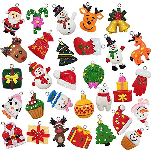 30pcs Mini Christmas Ornaments Tree Decorations, Small Christmas Tree Ornaments with Santa Claus, Snowman, Reindeer and More Resin Tiny Christmas Figurines for Holiday Christmas Hanging Decor