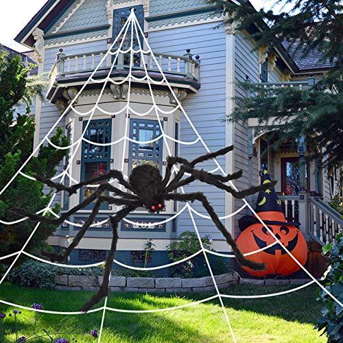 OCATO 200' Halloween Spider Web + 59' Giant Spider Decorations Fake Spider with Triangular Huge...