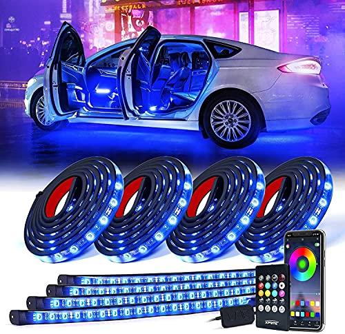 Tira de luz LED para Coche, 4 Piezas, Kit de Luces de neón, Luces LED para Debajo de la carrocería de 8 Colores con Control Remoto Activo y inalámbrico (Size : 2×60cm+2×90cm)