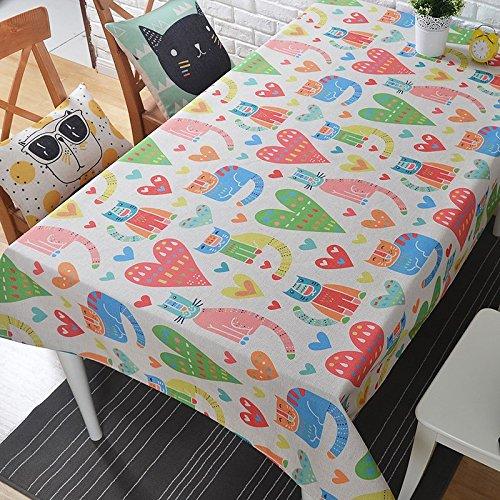 HXC Home Kids, 100 x 140 cm, cartoon met kattenhart, Nordic Scandinavische kinderen in tafelkleed, katoen, linnen, tafelkleed, tuin, rechthoekig, vierkant, non-irroning, eco-vriendelijke tafelrunner