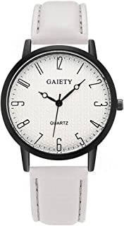 Gaiety Analog Quartz Leather Band Sport Watch for Couple Black Tone Arabic Numbers G031