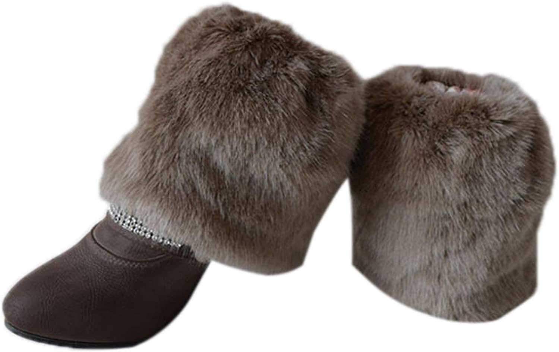 WSLCN K/ünstlich Pelz Stulpen f/ür Damen f/ür Stiefel Warme Winter