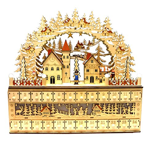 Bavarian Style Wooden Christmas Advent Calendar with Drawers and LED Lights - Alpine Village Scene