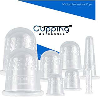 Cupping Warehouse TM GRIP Classic 8 Silicone Cupping Therapy Sets for Professional and Home Use Chinese Silicone Massage Cups with Face and Body Decompression Anti Slip Suction Cups