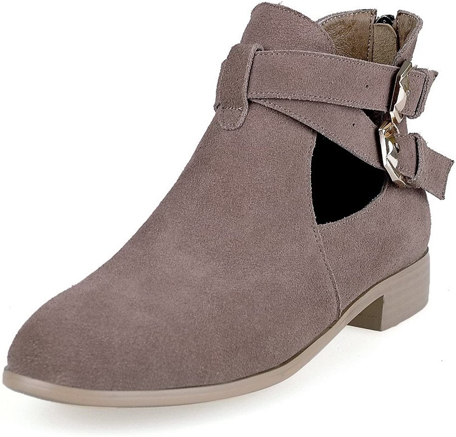 AmoonyFashion Women's Round-Toe Closed-Toe Low-Heels Boots with Square Heels and Back Zipper
