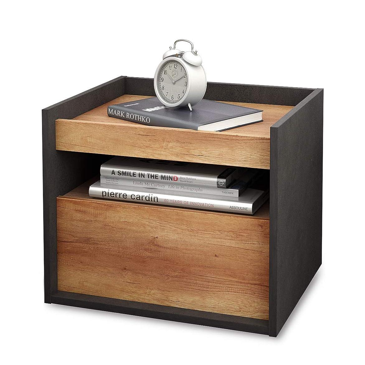 かどうかマークされたセミナーDEVAISE ナイトテーブル ベッドサイドテーブル サイドテーブル 引き出し付き 小物?本などの収納に便利 木製 簡単組立 木目と石柄 おしゃれ 北欧風 WF0008A